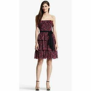 WHBM Ditzy Pink and Black Floral Tiered Mini Dress
